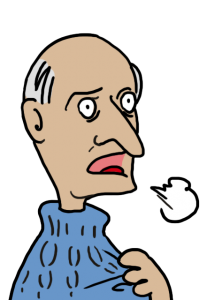 Old man, cold and coughing