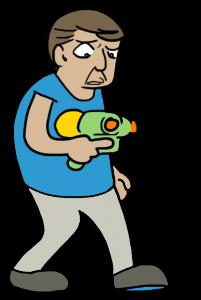 Man with weak squirtgun