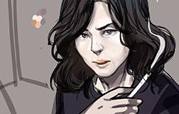 Cartoon of a woman smoking a cigarette